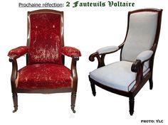 Fauteuils Voltaire avant réfection... et voici un nouveau projet, un beau projet ! Ces deux fauteuils nous viennent de deux horizons tout à fait différents et, après en avoir fait l'acquisition, notre très sympathique client a décidé de les rassembler...