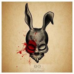 Donnie Darko Frank Tattoo design blackwork  http://www.instagram.com/gabstattooart