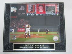 "Matt Cain San Francisco Giants Perfect Game Collector Plaque w/8x10 Photo by J & C Baseball Clubhouse. $19.99. This collectors plaque measures 10 1/2""x13"" and includes a fully licensed 8""x10"" photo that IS REMOVEABLE. A GREAT ITEM for any sports fan!"