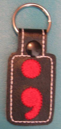 Semi Colon Black & Red with Black Snap Tab KeyFob by ghostwalk on Etsy