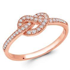 CRISLU Micro Pavé Forever Knot Ring in rose gold
