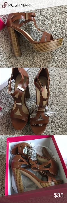 "Brown Heeled Sandals Just Fab Brown Heels. New, never worn outside. Heel approx. 4"" JustFab Shoes Heels"