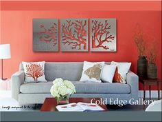 Coral Wall Art Metal Wall Art Home Decor by ColdEdgeGallery