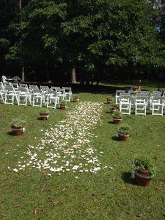 Rose petal aisle, pot plants to define the space - simple but effective outdoor wedding decorations