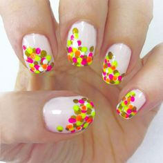 Neon Confetti Nails for the Summer