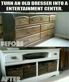 Recycled outdated Dresser to Entertainment center