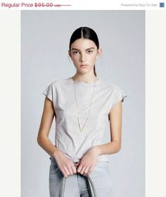 Cyber Monday 20% Geometric Gold Long Necklace by ZOZidesign