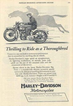 Our antique motorcycle ads gallery shows you how motorcycles were once advertised. Harley Davidson Posters, Used Harley Davidson, Vintage Harley Davidson, Harley Davidson Motorcycles, Motorcycle Posters, Motorcycle Garage, Motorcycle Art, Classic Motorcycle, Vintage Advertisements