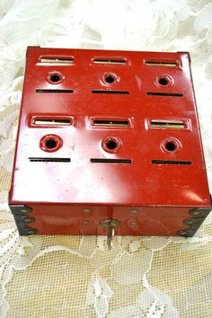 Vintage Red Tin Coin Bank - 'Home Budget Bank' circa Piggy Banks, Home Budget, Vintage Love, 1940s, Budgeting, Coins, Social Media, Board, Places