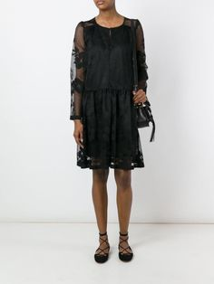 See By Chloé floral embroidered mesh dress