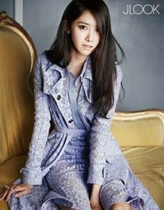 yoona for JLook magazine. Style: purple colored lace trench coat from Burberry's…