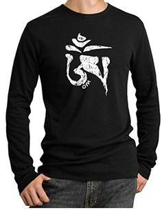 Buy Cool Shirts Mens Yoga White Tibetan Om Black Thermal Shirt 4XL >>> Click image for more details.