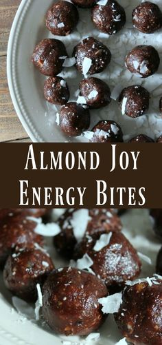 Medjool Dates processed together with chocolate, almonds, and coconut to create this delicious almond joy inspired energy bite. Healthy make-ahead snack recipe Protein Bites, Protein Snacks, Protein Cookies, Protein Ball, Healthy Protein, Healthy Cookies, High Protein, Healthy Baking, Healthy Desserts