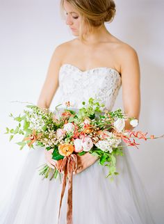 Green, pink and orange bouquet tied with a velvet ribbon | floral Inspiration by Ali Harper