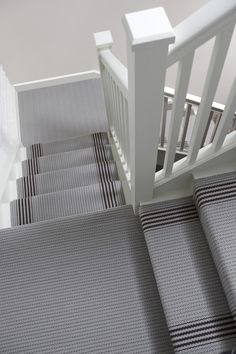 Hallway carpet striped stair carpet grape u grey stripe stair and Hallway Carpet, Carpet Stairs, Basement Carpet, Up House, House Stairs, Victorian Hallway, Stair Makeover, Edwardian House, Stair Landing