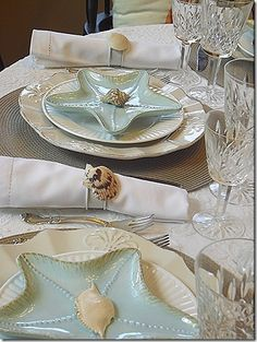 Some Ideas for the Beach , Nautical Wedding Table decoration.