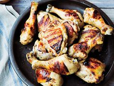 Instead of soaking the chicken in a saltwater mixture to add flavor and juiciness, this grilled chicken recipe is brined in a mixture of buttermilk, shallots, and spices.