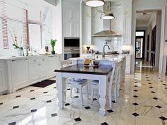 Great Kitchen Floor - White Marble with Diamonds