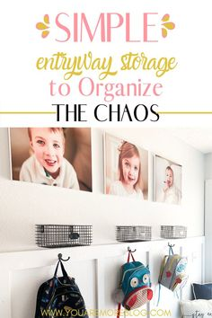 Simple entryway organization ideas on a budget. The best entryway storage tips with kids. DIY small entryway storage ideas. #budget #entryway #decor