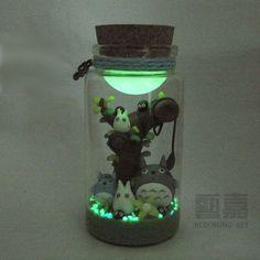 Maß totoro wishing flasche sterne leuchtende sand polymer clay diy geburtstagsgeschenk kreative geschenk