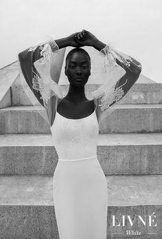 alon livne 2018 2019 white bridal long poet sleeves strapless semi v neck light embellished bodice high slit skirt elegant sheath wedding dress (rita).