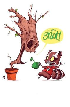 Groot and Rocket Raccoon of Guardians Of The Galaxy.