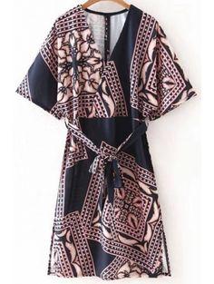 Plunging Neck Half Sleeve Belted Printed Dress #womensfashion #pinterestfashion #buy #fun#fashion