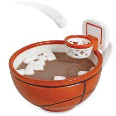 A mini–basketball game mug.