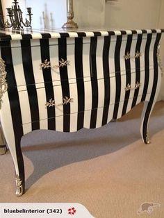 Black and white striped furniture Striped Furniture, Diy Furniture Redo, Funky Furniture, Refurbished Furniture, Repurposed Furniture, Furniture Projects, Bedroom Furniture, Bedroom Decor, Furniture Online