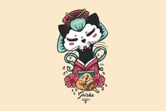 Geisha Cat Ganbatte Black Cat Illustration