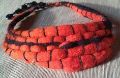 Afro (nemez nyakpánt), Ékszer, óra, Nyaklánc, Narancs és fekete nemezből készült törzsi ihletésű vagány nyakpánt.  Hossza állítható kb..., Meska Handmade Felt, Handmade Necklaces, Jewels, Bracelets, Leather, Fashion, Africa, Moda, Jewerly