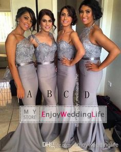 2014 Dark Gray Mix Satin Long Bridesmaid Dresses Bridesmaid Dress | Buy Wholesale On Line Direct from China