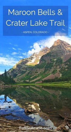 Discover the most photographed mountains in North America - Maroon Bells and Crater Lake Trail near Aspen Colorado in the United States appalachian trail hiking, hiking place, hiking gifts Vail Colorado, Boulder Colorado, Road Trip To Colorado, Colorado Hiking, Colorado Mountains, Colorado Springs, Crater Lake Colorado, Basalt Colorado, Colorado Vacations