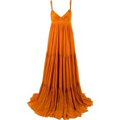 Pre-owned Gucci Silk Maxi Dress ($750) ❤ liked on Polyvore featuring dresses, orange, women clothing dresses, orange maxi dress, white silk dress, silk dress, preowned dresses and gucci dress