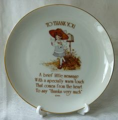Holly Hobbie Collectible Plate TO THANK YOU by EauPleineVintage, $6.50