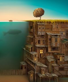 Submerged imbalance, surreal painting / art