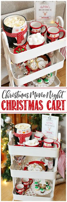 Use a rolling cart to hold Christmas treats and hot chocolate for a Christmas movie night or Christmas party. Use a rolling cart to hold Christmas treats and hot chocolate for a Christmas movie night or Christmas party. Christmas Movie Night, Movie Night Party, Family Movie Night, A Christmas Story, Christmas Goodies, Christmas Treats, Kids Christmas, Christmas And New Year, Christmas Chocolate