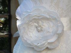 Exotic Off White Satin Organza Bridal Flower by BridesandBellas, $45.00