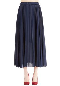 Of Allure Own Accordion Skirt. Take a stunning stance in this navy blue skirt! #gold #prom #modcloth