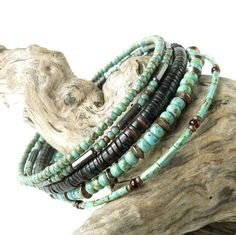 Beaded bracelet stack  turquoise brown & copper by dalystudios