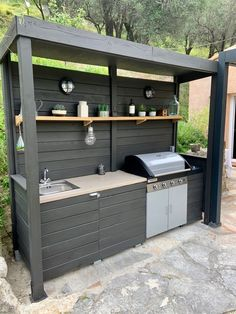 Small Outdoor Kitchens, Outdoor Kitchen Patio, Outdoor Kitchen Design, Outdoor Rooms, Outdoor Living, Kitchen Decor, Outdoor Grill Area, Diy Bbq Area, Backyard Patio Designs