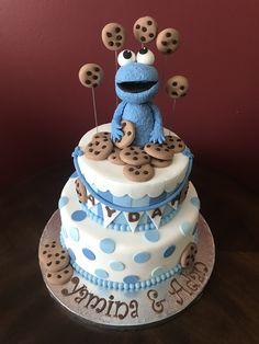 Cookie Monster Baby Shower Cake Baby Shower Cakes, Baby Boy Shower, Monster Baby Showers, Bday Girl, Cookie Monster, Babyshower, Bridal Shower, Cookies, Birthday