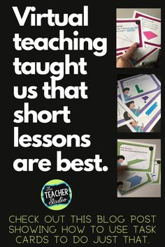 """Teaching geometry can be tricky! There is a TON of math vocabulary and a lot of """"rules"""" to remember. This blog post gives great suggestions on how to use task cards to break instruction into short, meaningful minilessons. Whether you are teaching in person or virtually, we know that short minilessons are the most effective. Check out the post for more! #geometry #elementarygeometry #geometrylessons #CCSS #protractorlessons #symmetrylessons #anglelessons #fourthgrademath Geometry Lessons, Teaching Geometry, Math Lessons, Teaching Tips, Teaching Math, Elementary Math, Upper Elementary, Standards For Mathematical Practice, Math Talk"""
