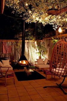 Malm fireplace in cozy backyard Cozy Backyard, Backyard Landscaping, Backyard Designs, Malm, Gazebos, Outdoor Rooms, Outdoor Decor, Outdoor Living Spaces, Outdoor Dining