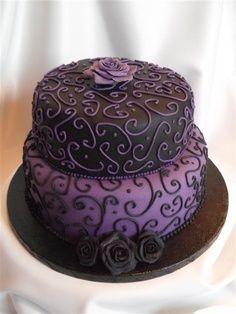 black on purple/purple on black cake