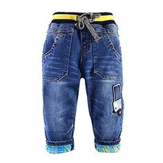 (My review of Baby Little Boys' Drawstring Waistband Fleece Lining Denim Jeans Pants Clothes) -  Size Chart: Size...
