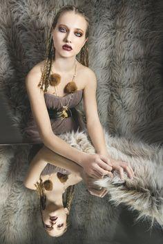 BAMBI STATEMENT NECKLACE rabbit fur pompom by NATI100%PUREIDEA