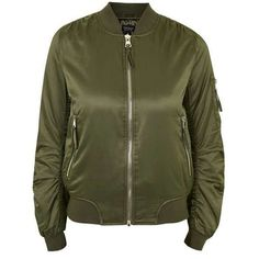TopShop ma1 Bomber Jacket ($79) ❤ liked on Polyvore featuring outerwear, jackets, green jacket, bomber style jacket, utility jacket, bomber jacket and blouson jacket