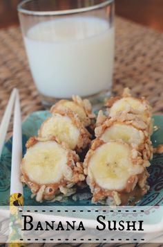 Banana Sushi and ice-cold milk - it's what's for breakfast! Or snack! Or healthy treat before bed! by @Jenny On The Spot