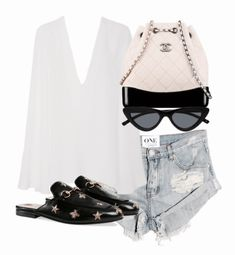 A fashion look from February 2018 featuring cotton shorts and chanel bags. Browse and shop related looks. Simple Outfits, Chic Outfits, Trendy Outfits, Summer Outfits, Fashion Outfits, Look Fashion, Teen Fashion, Korean Fashion, Womens Fashion